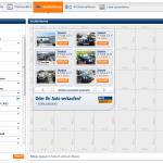 In dieser Ansicht kann der Publisher mit Hilfe einer Fülle von Suchkriterien die passenden Fahrzeuge selektieren.