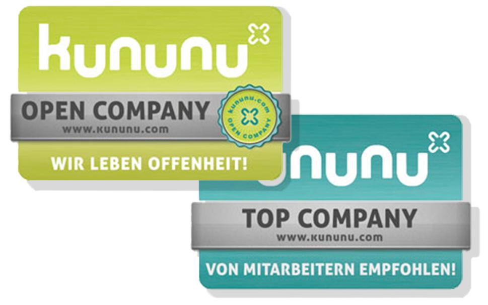 Kununu TOP und OPEN COMPANY Gütesiegel